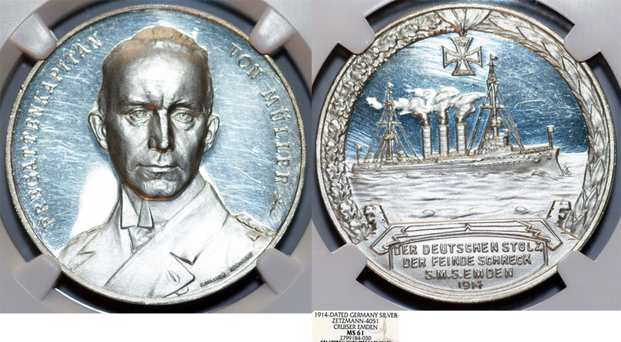 """World Coins - GERMANY. Karl von Müller  (Fregate Captain). Silver Medal 1914. """"The Pride of the Germans, the Terror of our Enemies"""". NGC MS61"""