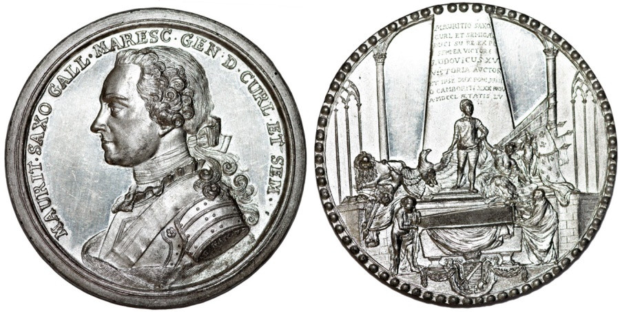 World Coins - Germany. Saxony. Zinc Medal. DEATH OF HERMANN MORITZ COUNT (ca. 1780)  by D. Kam. UNC