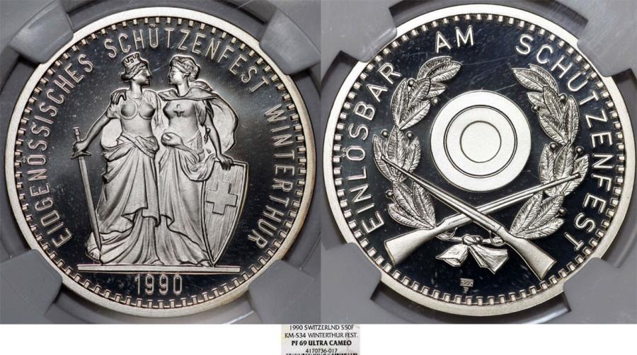 "World Coins - Switzerland. Commemorative Silver Shooting Festival. Silver ""ShootTaler"" 50 Francs 1990. NGC  PF69!"