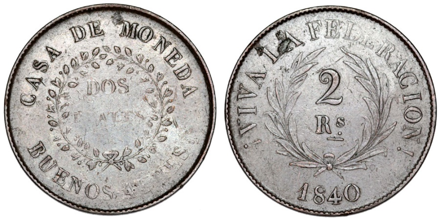 World Coins - Argentina. Province: Buenos Aires. AE 2 Reals 1840. VF