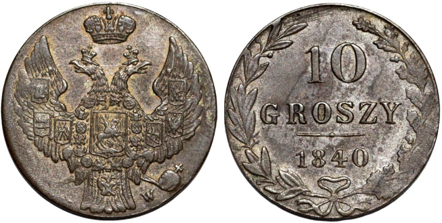 World Coins - Imperial Russia. Coinage for Poland. AR 10 Groszy 1840 MW. XF, toned
