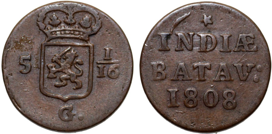 World Coins - Netherlands East Indies. Napoleonic Batavian Republic. Cu Duit 1808. VF