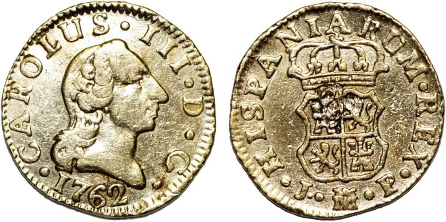 World Coins - Spain. Carlos III (1759-1788). Gold 1/2 Escudo 1762 M-MF. Choice VF