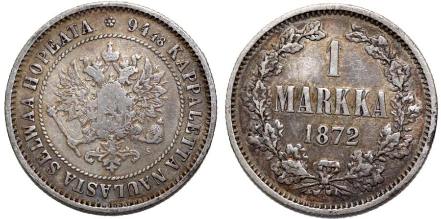 World Coins - Grand Duchy of Finland. Tzar Alexander II. AR 1 Markka 1872S.VF, toned