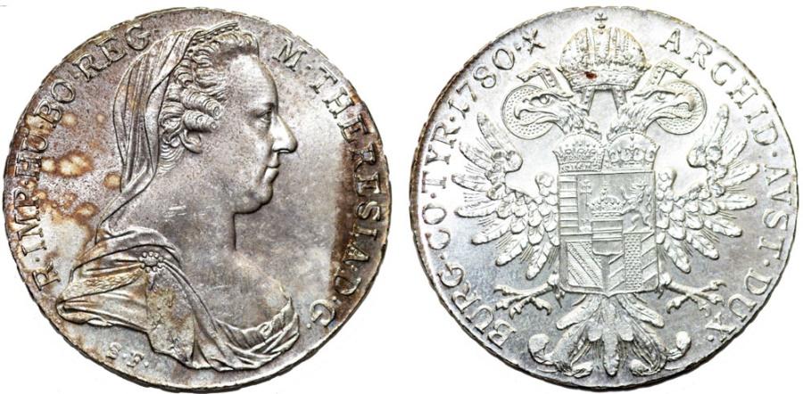 World Coins - Austria. Queen M. Theresa (1740-1780). Silver Thaler 1780SF. BU, Restrike