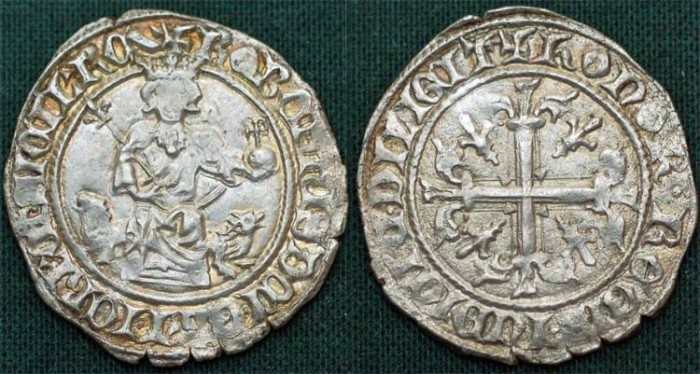 World Coins - Italy. Kingdom of Naples. King Robert d'Anjou (1346-1364).  Silver Gigliato ND. XF, toned.
