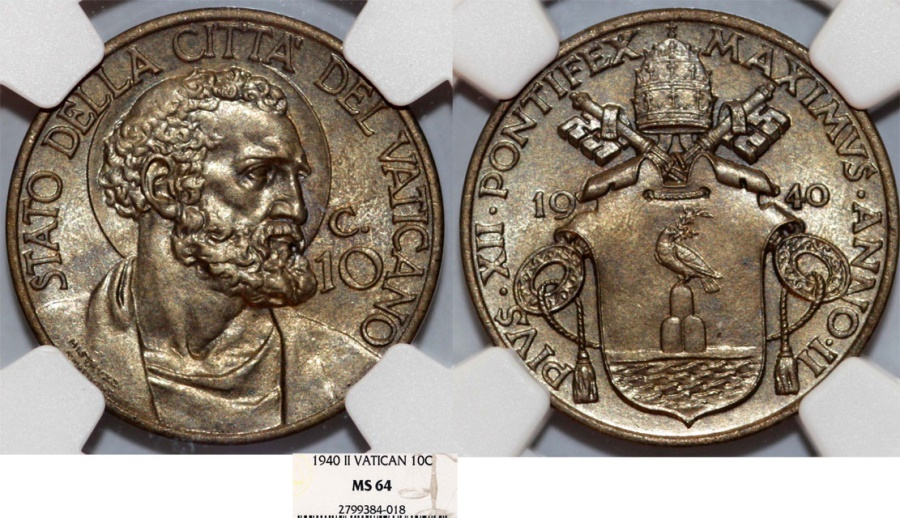 World Coins - Vatican City. Pope Pius XI (1922-1939). 10 Centimes 1940. NGC MS64