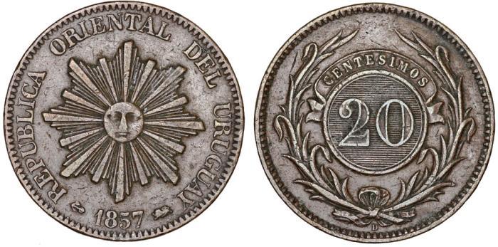 World Coins - Uruguay. Republic. Bronze Large 20 Centesimos 1857 D. VF