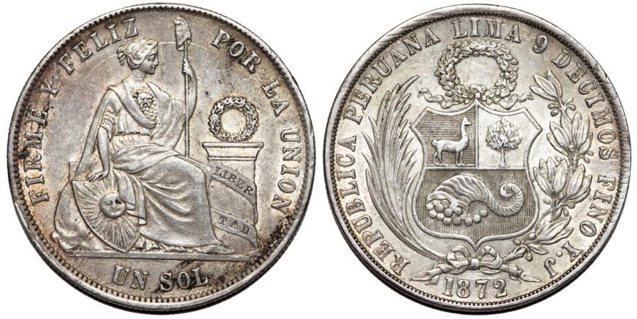 World Coins - Peru. Republic. AR 1 Sol 1872 YJ. Nice AU