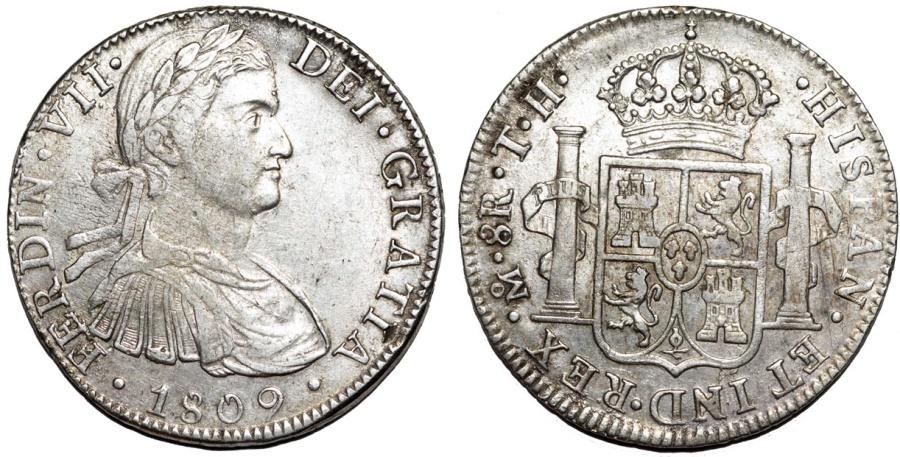 World Coins - MEXICO: Fernando VII (1808-1821). AR 8 reales, 1809-Mo. Nice XF+/AU