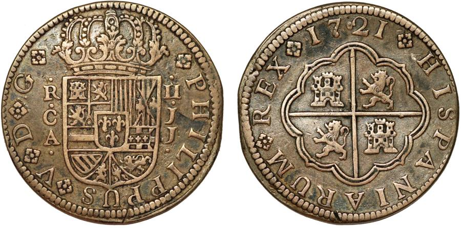 World Coins - Spain. King Phillip V. Silver 2 Reales 1721 JJ. Toned Choice VF+