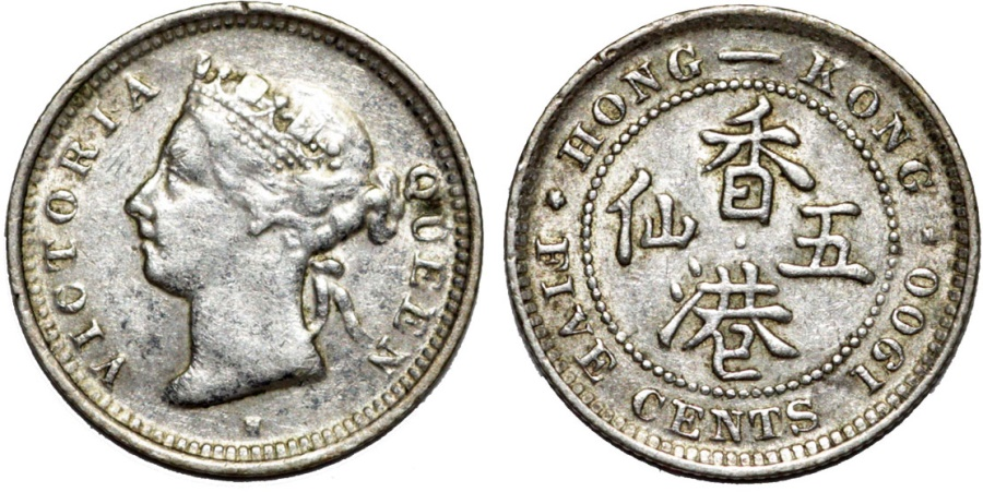 World Coins - British Colony: Hong Kong. Queen Victoria. AR 5 Cent 1900. XF.