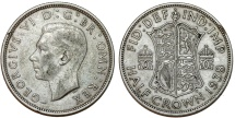 World Coins - Great Britain. king George VI. AR Half Crown 1938. Toned  XF