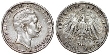 World Coins - Germany Empire. Prussia. Wilhelm II (1888-1918). Silver 3 Mark 1908 A. ABout  XF