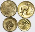 World Coins - Peru. Republic. Lot of 4 coins: 20 Centavos  to Sol 1960-1969. AU-UNC