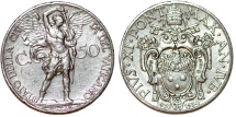 "World Coins - Vatican City. Pope Pius XI (1922-1939). ""Jubilee issue"" Ni 50 Centimes 1933-1934. Choice XF"