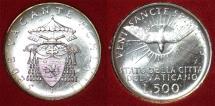 World Coins - Vatican City. Sede Vacante 1963. Silver 500 Lire. BU, ETUI