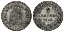 World Coins - Germany. Wurttemberg. Wilhelm I. AR 6 Kruezer 1849. VF