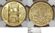 World Coins - INDIA, Princely States. Hyderabad. temp. Mir Usman Ali Khan II. AH 1329-1368. Gold Ashrafi AH 1343//14. NGC MS62!
