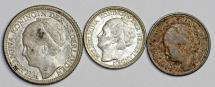 World Coins - Netherlands. Lot of 3 Silver Coins: 10 cents-25 cents 1930-1944. XF-UNC