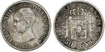 World Coins - Spain. Kingdom. Alfonso III. AR 50 Centimos 1889. VF