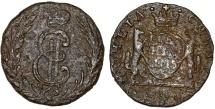 World Coins - Imperial Russia. Siberia. Catherina II (1764-1796) Copper 1 Denga 1775. VG.