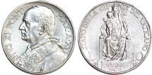 Vatican City. Pope Pius XI (1922-1939). Silver 10 Lire 1937. UNC