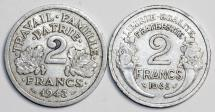 World Coins - France. Lot of 2 Coins: 2 Francs 1943, 1945. Choice XF