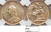World Coins - Great Britain. Queen Victoria (1837-1901) Gold Sovereign 1891. NGC AU55