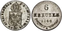 """World Coins - Austria. Franz Joseph I. AR 6 Kreuzer 1848 C. Good VF """"Spring Revolt"""""""