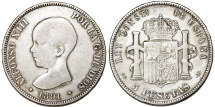 World Coins - Spain. Alfonso XIII (1886-1931). AR 5 Pesetas 1891 MP. aVF