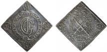 World Coins - GERMANY. Saxony. Johann Georg IV of Albertine Line (1691-1694). AR Thaler Klippe 1693. Choice XF, toned.
