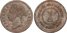 World Coins - Straits Settlements. Victoria. AE 1 Cent 1875. Fine+