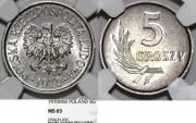 World Coins - Poland. PRL (1945-1989) Aluminium 5 Groszy 1970 MW. NGC MS65!