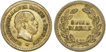 World Coins - Germany. King Wilhelm I of Prussia. Game Token  (Spiel-Marke) ca.1880. Nice XF, rare