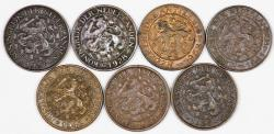 World Coins - Netherlands & Colonies. Lot of 7 coins 1 Cent 1925-1968. XF- UNC