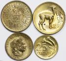 World Coins - Peru. Republic. Lot of 4 coins: 20 Centavos  to Sol 1960-1969. AU-UNC