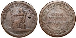 World Coins - Canada Nova Scotia.  TRADE & NAVIGATION Penny Token 1813, Breton-962, Fine