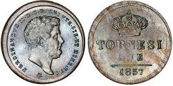 World Coins - Italy. Naples & Sicily. Francesco Ii (1830-1859). AE 2 Tornesi 1857. Choice AU/UNC