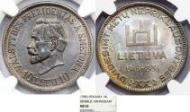 World Coins - Lithuania. Republic. Silver Commemorative 10 Litu 1938. NGC MS63, scarce