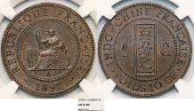 World Coins - French Indo-China. Colonial AE 1 Cent 1892 A. NGC AU55BN