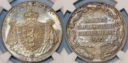 World Coins - Norway. King Haakon VII. AR 2 Kroner 1906. Independence. NGC MS64, NICE! RARE DATE.