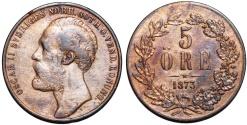 World Coins - Sweden. Oscar II. Cu 5 Ore 1873. VF.
