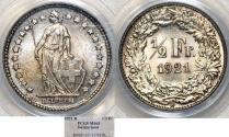 World Coins - Switzerland. Federation. AR 1/2 Franc 1921. PCGS MS65