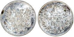 World Coins - Russia - Finland. Civil War Coinage. Silver 25 Pennia 1917S. Choice AU
