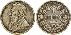 World Coins - Z.A.R. South Africa. Silver Shilling 1895. Toned about VF