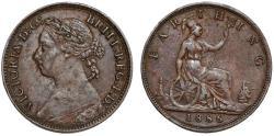World Coins - Great Britain. Queen Victoria (1837-1901) AE Farthing 1886. Choice XF