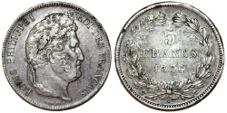 World Coins - France. king Louis Philippe (1830-1848). Silver 5 Francs 1834 W. XF, toned.