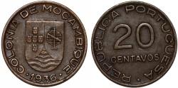 World Coins - Mozambique as Portuguese Colony. Cu 20 Centavos 1936. XF