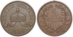 World Coins - Germany East Africa. Wihelm II. AE 5 Heller 1909J. Choice XF.